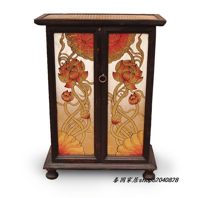 Thai Crafts Furniture Tv Cabinet Entrance Features Hand Painted Gold Leaf Shoe Southeast Asian Style