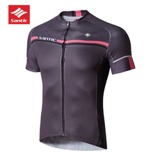 2018 SANTIC Cycling Clothing Men Pro Fit Jersey MTB Short Sleeve Downhill Bike Base Layer Sports Cycle Knitted