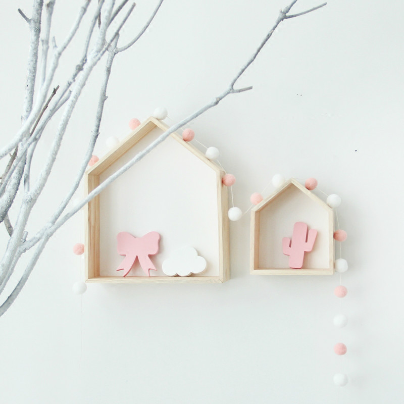 New INS Birthday Christmas Gift Wooden house Bedding Set Wall Wooden house Room On Wall decorative props for Kids Room