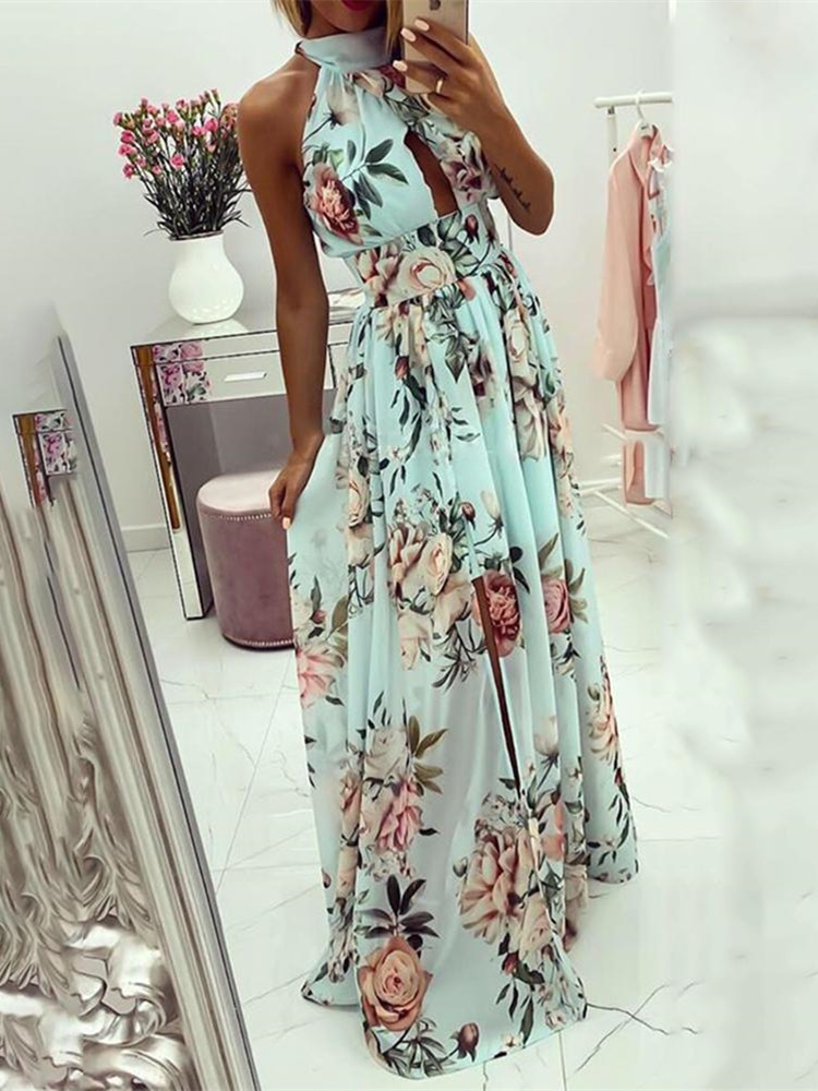 2020 Summer Vacation Elegant Leisure Holiday Dress Female Sleeveless Halter Floral Print Knotted Cutout Back Slit Maxi Dress image