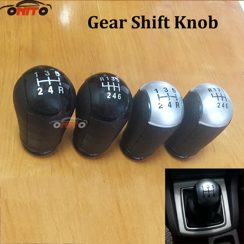 1pcs 5 Speed 6 Speed black silver Car Gear Shift Collars Car Gear Shift Knob For Ford for Focus Mondeo Fiesta C-Max