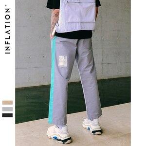 Image 4 - 인플레이션 형광 사이드 스트레이트 캐주얼 바지 streetwear 힙합 스와그 루즈 피트 카고 바지 코튼 브랜드 바지 8863 w