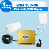 GSM 900 WCDMA 2100MHz LCD Display Dual Band Cellphone Signal Booster Amplifier Mobile Phone Repeaters Complete