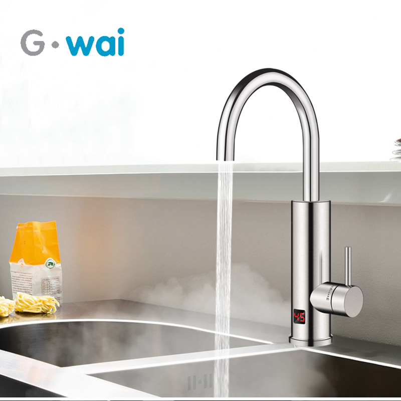 220V Kitchen Instant Electric Water Heater Tankless Hot Water Heating Tap Faucet Stainless Steel Tap with Temperature Display220V Kitchen Instant Electric Water Heater Tankless Hot Water Heating Tap Faucet Stainless Steel Tap with Temperature Display