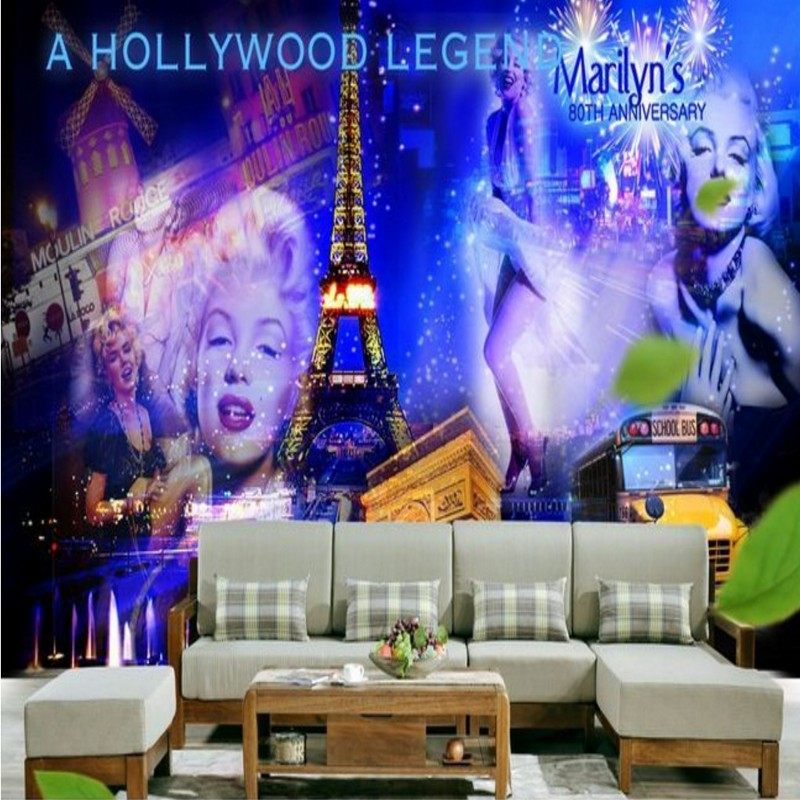 Free Shipping Marilyn Monroe Paris star idol TV sofa background wall living room bedroom mural wallpaper home decoration  free shipping purple nebula wallpaper children s room living room tv sofa bedroom ceiling decoration star globe wallpaper mural