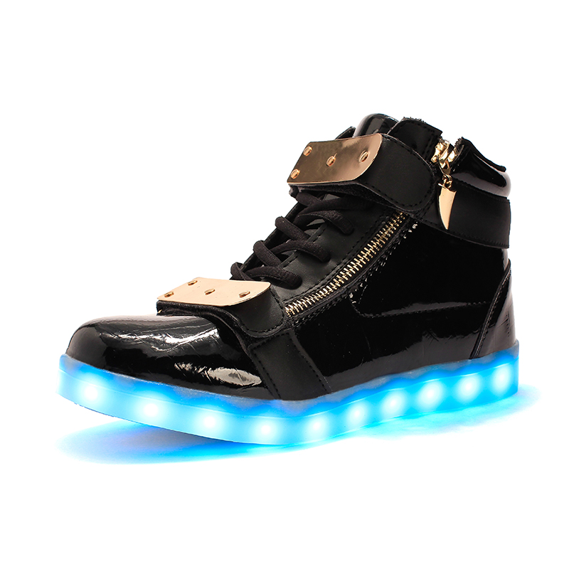 Men's Casual Shoes Laisumk Wholesale Led Men Shoes Luminous Neon Basket Casual Homme Shoes High Glowing With Usb Charge Light Up Simulation Sole For Fast Shipping