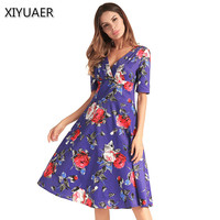 XIYUAER Newest 4 Colors Plus Size 2XL Floral Print Dress Series Women Cotton Off V Neck