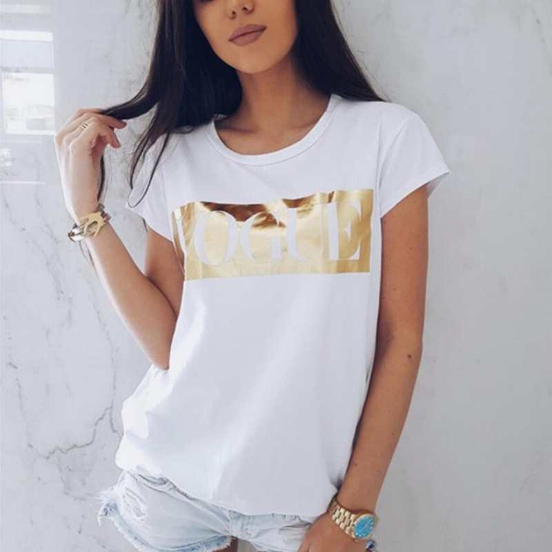 Women's friends VOGUE Print T-shirt Ladies Letter Top pokemon Short Sleeve Fashion O-neck TShirt Cotton T-Shirt Women's T Shirt 1