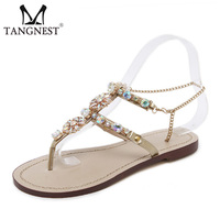 Tangnest Summer Women Flat Sandals Casual Gladiators Fashion Crystal Slip On Women Shoes Gold White Big