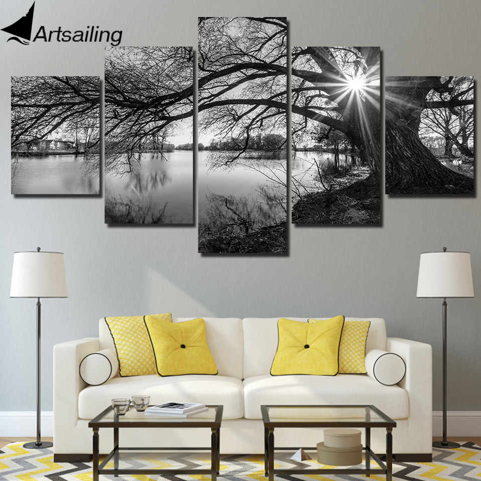 ArtSailing 5 panel painting print painting canvas art red tree scenery modular pictures large wall pictures for living room