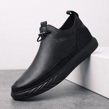 עור אמיתי נעלי גברים מותג הנעלה החלקה עבה בלעדי אופנה גברים מזדמן בתוספת קטיפה סניקרס זכר גבוהה איכות zapatos