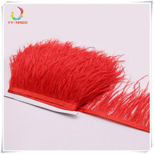 New! Wholesale high quality 10 yards of  red ostrich feather ribbon feather length 8-10cm / DIY clothing dress accessories