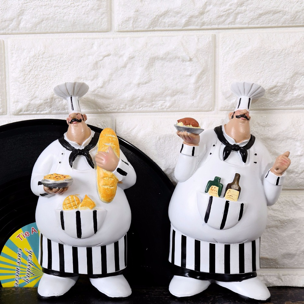 aibei resin cook 2pcsset kitchen wall hanging handicraft chef decor pendant creative gifts crafts 195114cm in figurines miniatures from home garden - Kitchen Chef Decorations