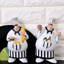 AIBEI-Resin Cook 2PCS/SET Kitchen Wall hanging Handicraft Chef Decor Pendant Creative Gifts Crafts 19.5*11*4cm