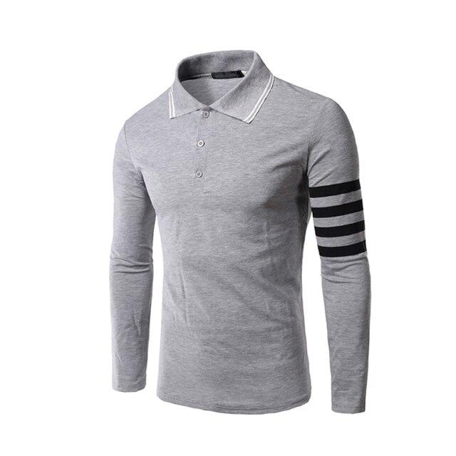 Hombres camisas de polo de 2016 nueva ropa de manga larga delgada ocasional masculina de alta calidad camisa polo masculina moda masculina tops 2xl z0
