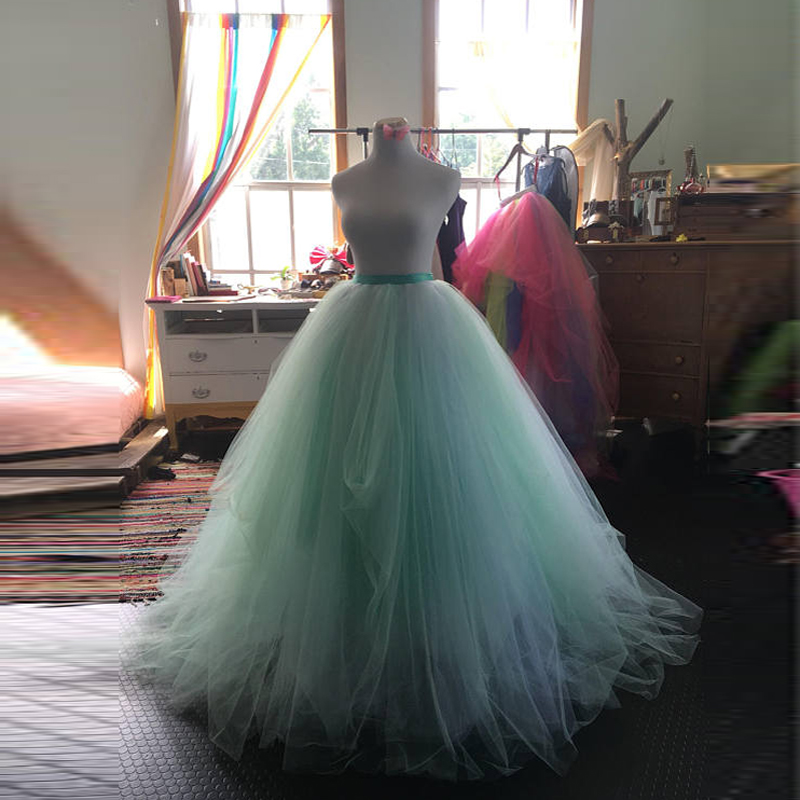 9 Layers Ball <font><b>Gown</b></font> <font><b>Bridal</b></font> Long Tulle Skirt Custom Made Mint/Blush Tutu Skirt Wedding <font><b>Gowns</b></font> <font><b>2018</b></font> Photoshoot Engagement Photos image