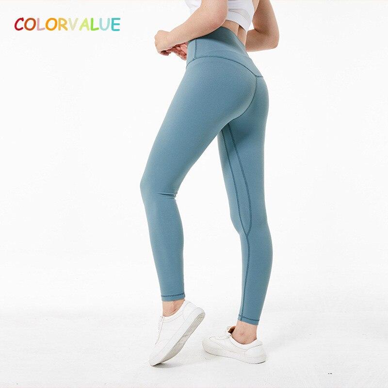 Colorvalue super macio hip up yoga calças de fitness feminino 4-way elástico esporte collants anti-suor cintura alta ginásio atlético leggings