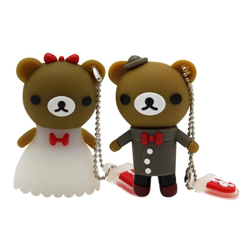 BiNFUL Wedding Gift Cartoon Bear Pendrive 4GB 8GB 16GB 32GB 64GB Bride Groom Pen Drive Usb Flash Drive