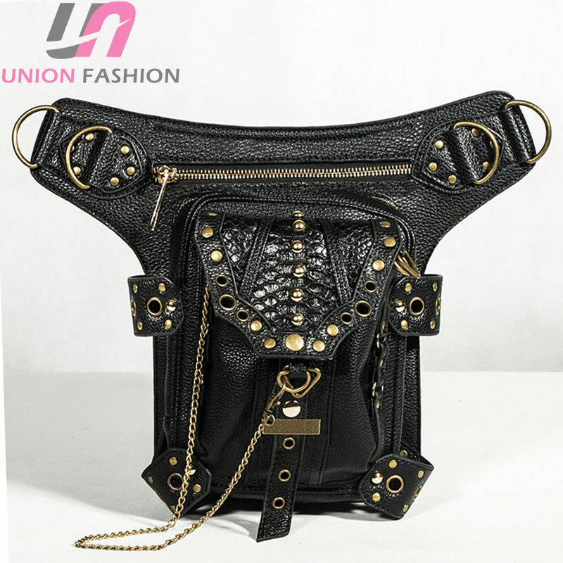 Vintage Steampunk PU Leather Shoulder Waist Bag Rock Gothic Goth Waist Packs Victorian Style for Men Women Leg Bag Holster Bag chrismas gift steampunk bag steam punk retro rock gothic bag goth shoulder waist bags packs victorian style women men leg