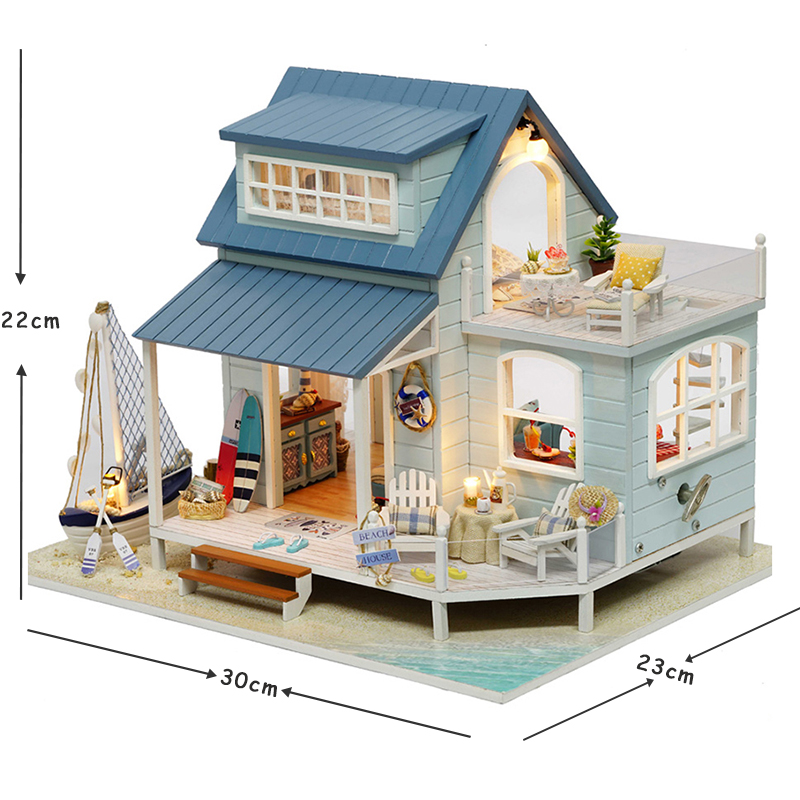 Doll House Miniature DIY Dollhouse With Furnitures Wooden House Toys For Children Birthday Gift Caribbean Sea A037