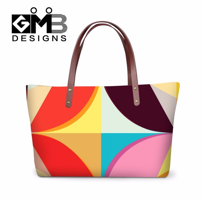 Women S Summer Shoulder Handbags Geometric Pattern Tote Bags For Colorful Hand