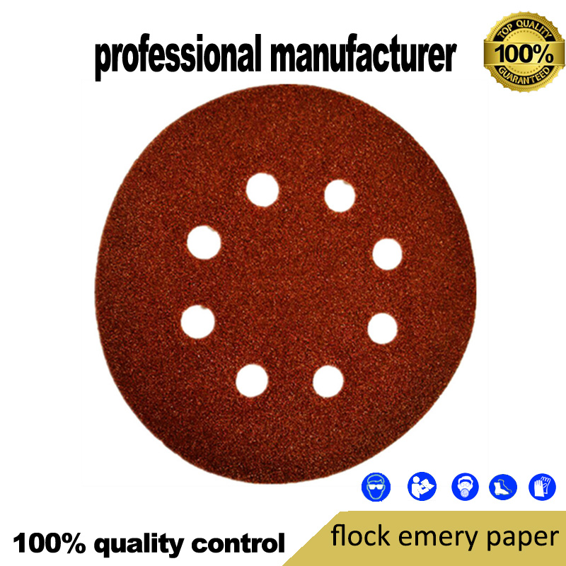 125mm 8holes Flocking Sand Paper For Polishing Flocking Sand Paper For Wood Polishing At Good Price And Fast Delivery