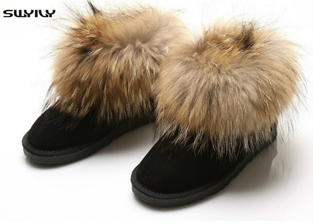 100% Nature Leather Fox Fur Women Winter Snow Boots Top Quality Warm Winter Ankle Shoes Botas Femininas Plus Size 40