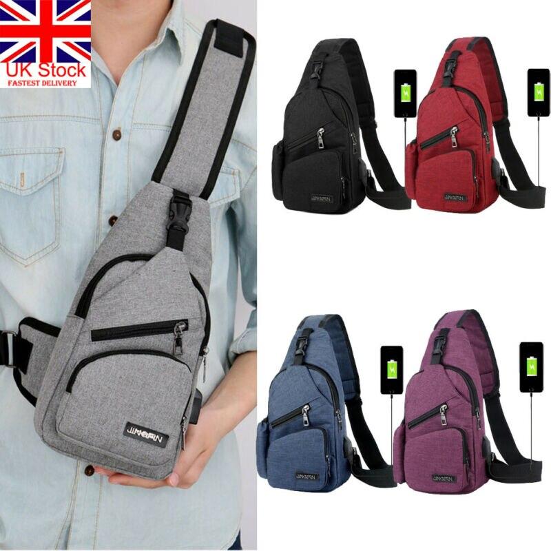 Men Women Shoulder Bag Sling Chest Pack USB Charging Sports Crossbody Handbag