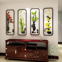 Prugna fiore di Orchidea Bambù Crisantemo Acrilico autoadesivo della parete soggiorno Classico 3D adesivi murali Camera Da Letto decorazione della parete