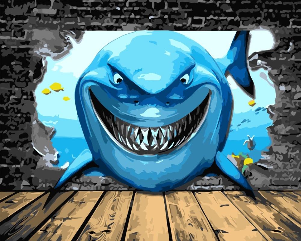 ᗑ】3D seascape blue sea underwater Painting fish shark paint ...