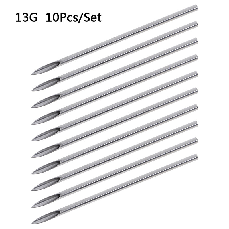 10pcs/set Disposable Tattoo 12g/14g/16g/18g/20g Piercing Needles For Navel Nipple Ear Nose Lip Tattoo Piercing Needles Kit Tool