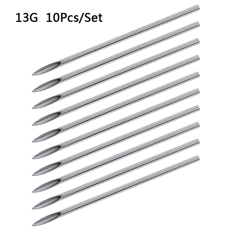 10pcs/set Disposable Tattoo 12g/14g/16g/18g/20g Piercing Needles For Navel Nipple Ear Nose Lip Tattoo Piercing Needles Kit Tool