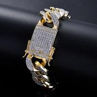 18mm Gold Silver Color Copper/brass Setting Cz Bracelet Hip Hop Iced Out Zircon Cuban Chain Bracelet 8inch 9inch
