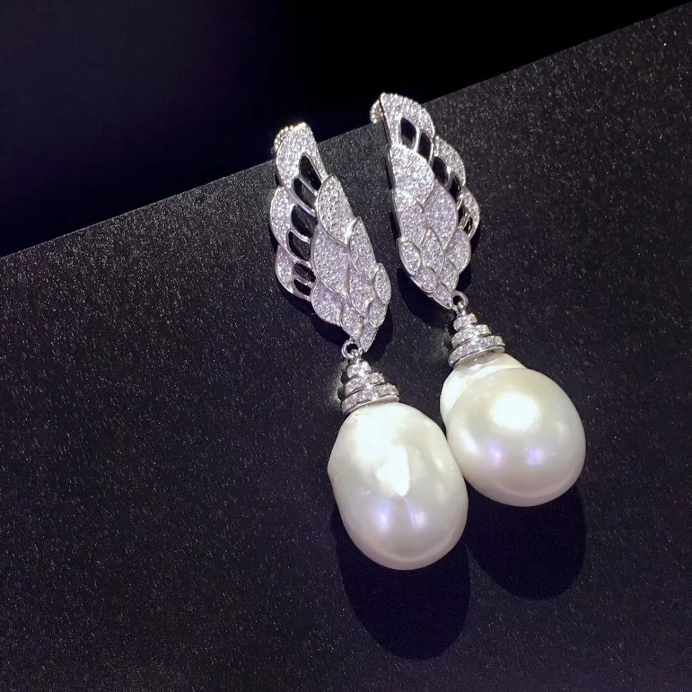 baroque natural fresh water pearl stud earring long earring 925 sterling silver with cubic zircon feather fashion women jewelry long earring natural fresh water pearl drop earring 925 sterling silver with cubic zircon leaf earring fashion women jewelry