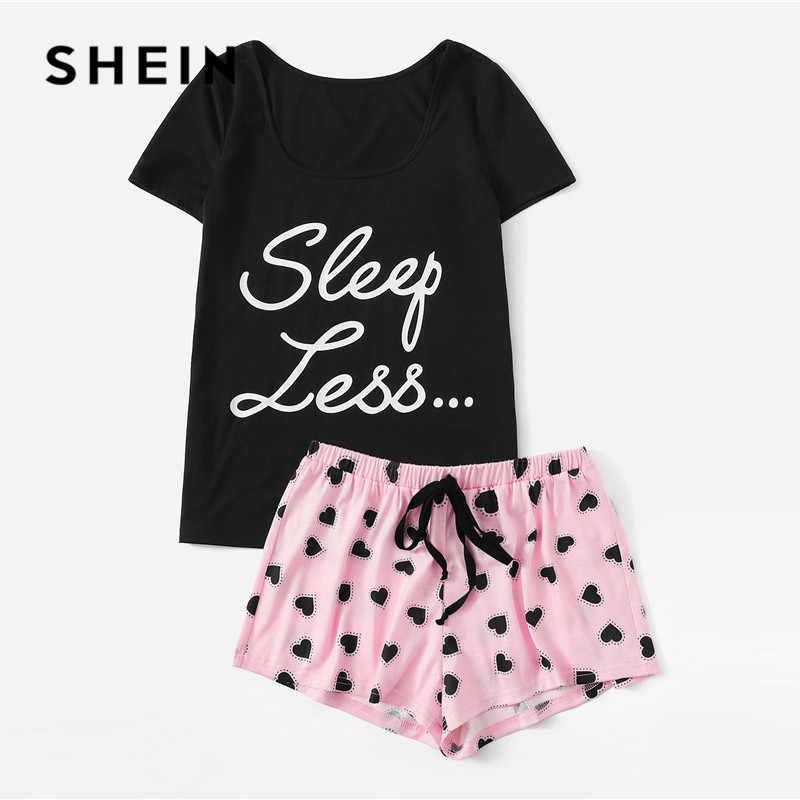 SHEIN Пижамный Комплект Футболка С Текстовым Принтом И Шорты С Кулиской Пижамный Комплект
