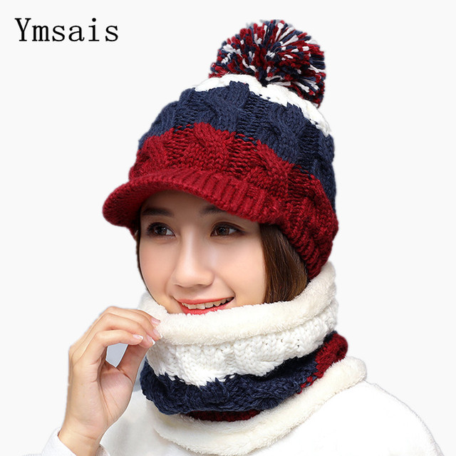 Gorros de invierno de moda para mujer conjuntos de bufanda de punto para  mujer conjuntos de 0704f4158e8