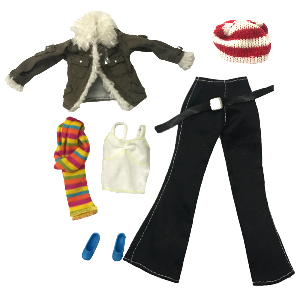 NK One Set Original Doll Clothes Princess Fashion Suit Winter Coat Pants Scarf Hat bag Shoes For Barbie Doll Best Gift For Child free shipping 5set 5 clothes 5 trousers jacket outfit pants outwear suit set coat for barbie doll dress clothes gift set
