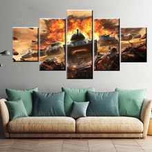 5 Piece Military War World of Warships Tank Painting Game Poster Decorative Mural Wall Decor Canvas Wholesale