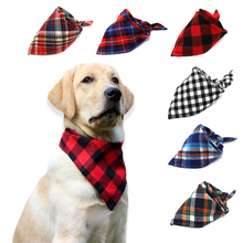 Pet Dog Cat Neck Scarf Adjustable Bandana Tie Bowtie Cotton Plaid Cleaning Towel  For Cats Grooming Accessories