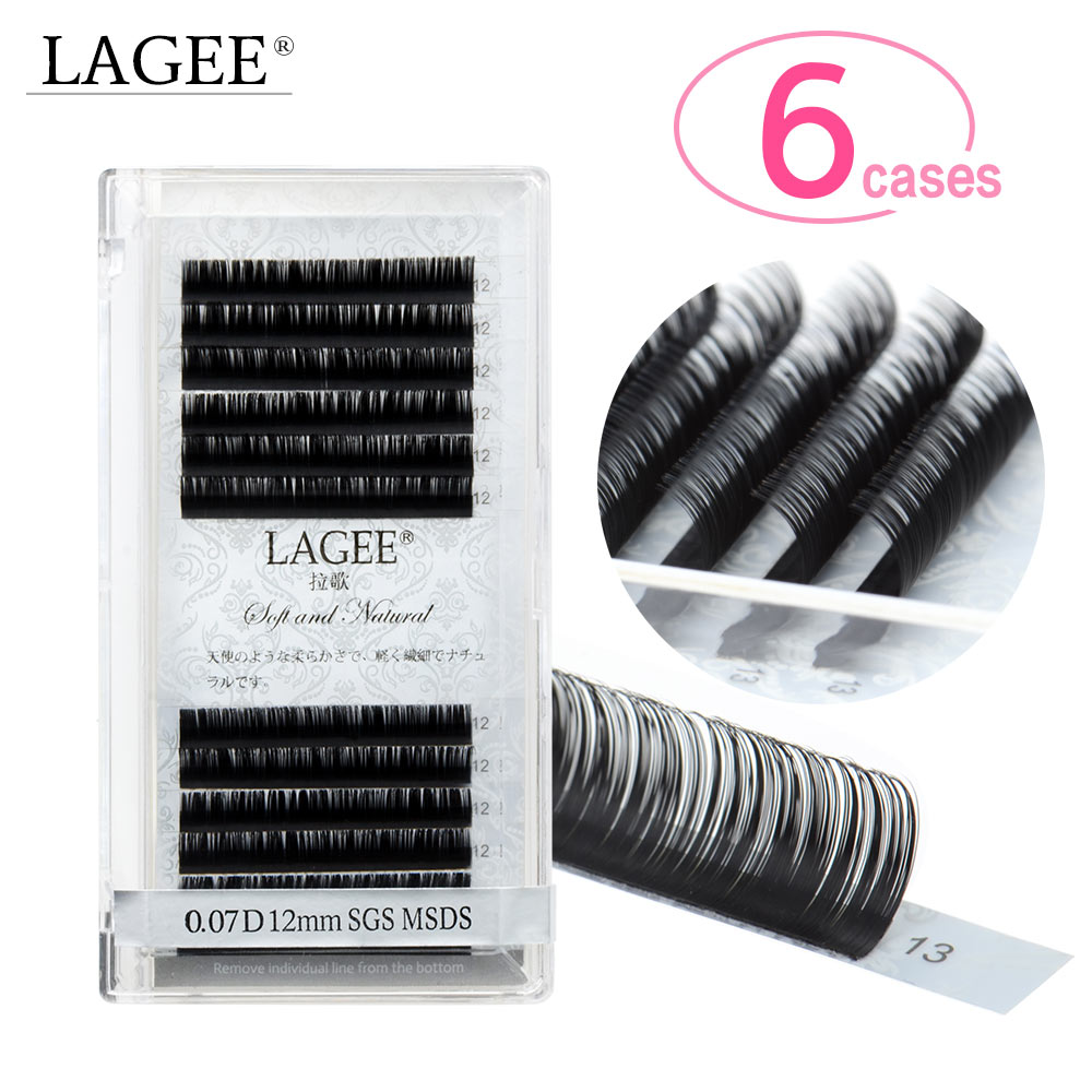LAGEE 6 Cases Super Soft Mink Eyelash Extensions Individual Eyelashes Natural Eyelashes Classic All Size J B C D CC Curl