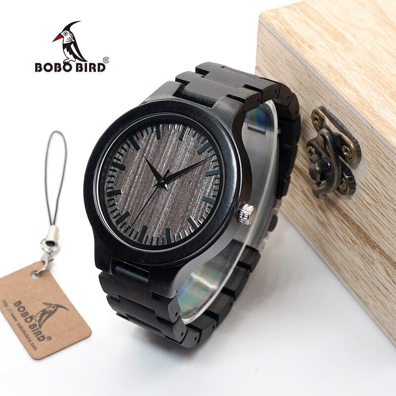Бобо птица WC30 мужские деревянные часы полный черного Деревянный Кварцевые часы Японии 2035 miyota движения Дерево группа часы для мужчин