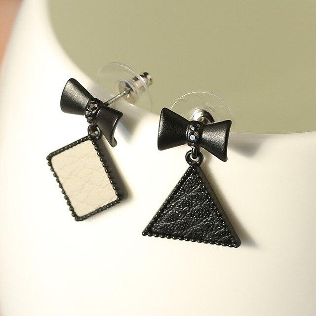 Черный Луки Cortex Асимметричные Серьги женщин Новый Стиль Геометрическая Треугольник Квадрат Кожа Серьги Стержня Bijoux E1015620