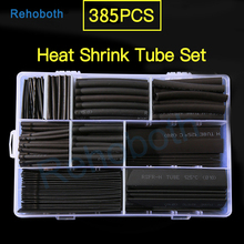 385pcs Black Polyolefin Shrinking Assorted Heat Shrink Tube Wire Cable Insulated Sleeving heat shrink tubing Set