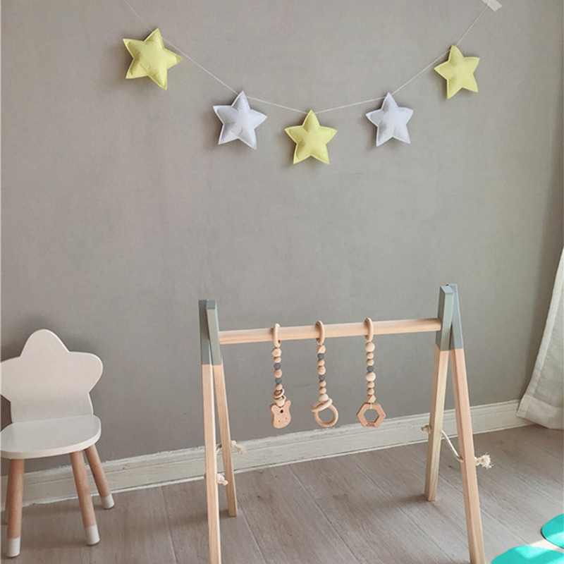 Hanging Decor 5 Stars Ornament Pennant Nordic Hanging Banners Girl Baby Room Wall Decor For Party Curtains Garlands Bedroom Wall