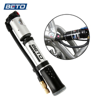 BETO Portable Hand Mini Pump Tire Fork Air Inflator Bike Pump Hose With Gauge 300 Psi High Pressure Bicycle Pump MP 036 AV/FV
