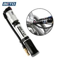BETO Portable Hand Mini Pump Tire Fork Air Inflator Bike Pump Hose With Gauge 300 Psi High Pressure Bicycle Pump MP 036 AV/FV