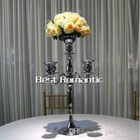 elegant 5 arms Metal Candle Holder Gold/Silver Plated Candlestick Crystal Table Candelabras Home Hotel Wedding Centerpieces Deco