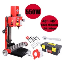 (Ship from US) 550W Mini Drilling Milling Machine Spindle rotary angle 45 degree ~+45 degree Working Table