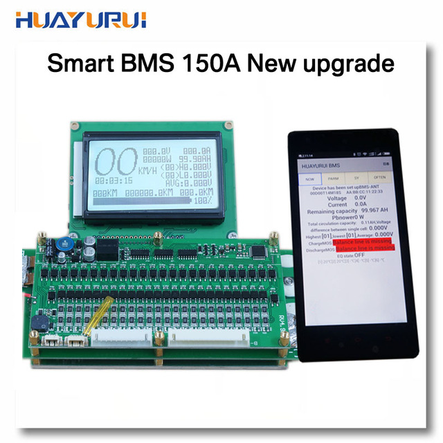 6S - 24S smart display 2.4V or 3.2V or 3.7V 150A lithium battery protection board balanced management system BMS Coulomb Counter