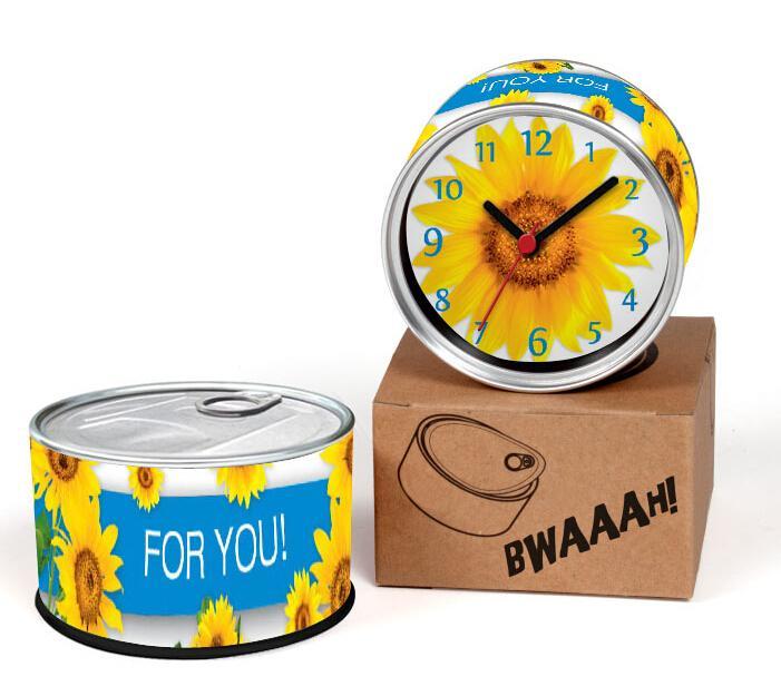Free Shipping Can Clocks Kitchen Fridge Magnets Wall Clocks Cheap Desk Table Clocks Magnetic Sunflower Design